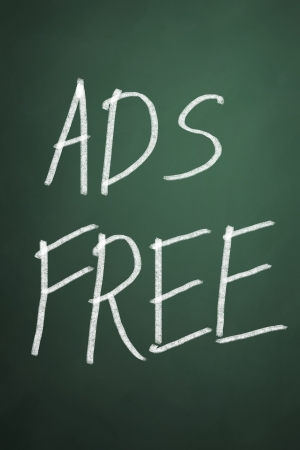 Ads free words on chalkboard background photo