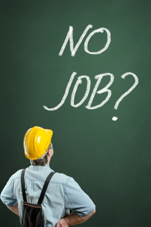 No Job words and worker on chalkboard background photo