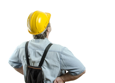 worker with helmet isolated on white photo