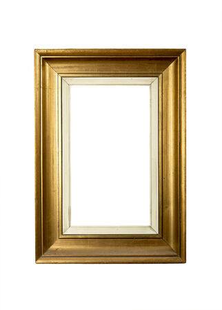 Old gold vintage picture frame isolated on white background Stock Photo - 25026820