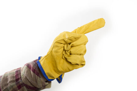hand with protective glove pointing up photo
