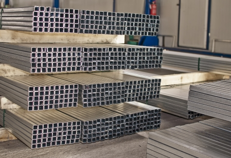 sheet metal profiles in production hall photo
