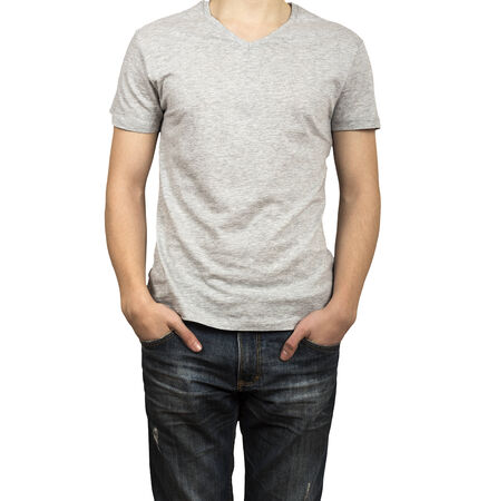 man figure in gray shirt photo