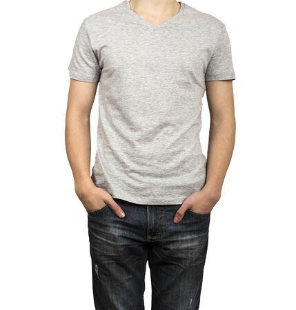 man figure in gray shirt photo