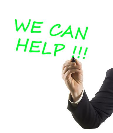 felt tip: businessman hand with felt tip marker writing text we can help