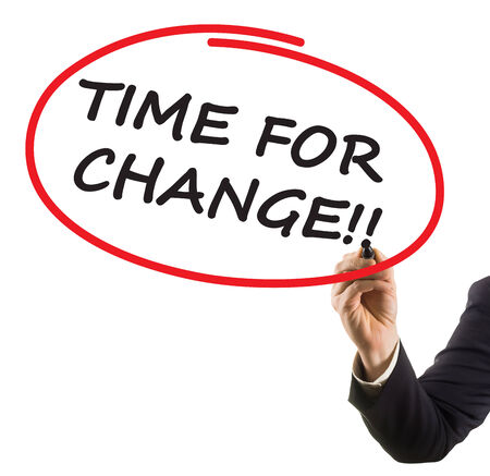 businessman hand writing text time for change Stock Photo - 26029334