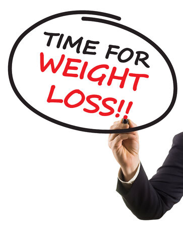 businessman hand with felt tip marker writing text time for weight loss photo