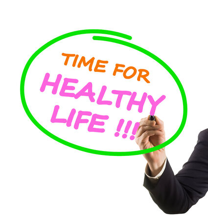 felt tip: businessman hand with felt tip marker writing text time for healthy life