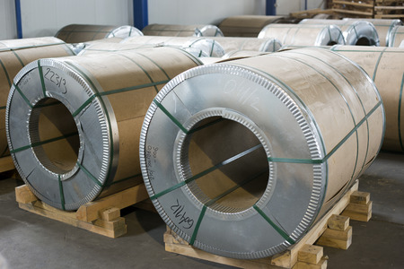 sheet metal rolls in production hall