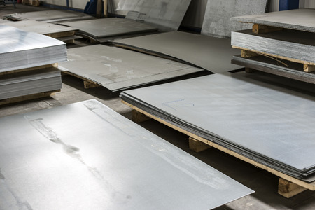 sheet tin metal in production hall  photo