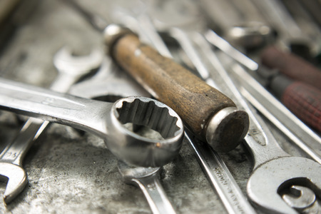 working tools on workbench photo