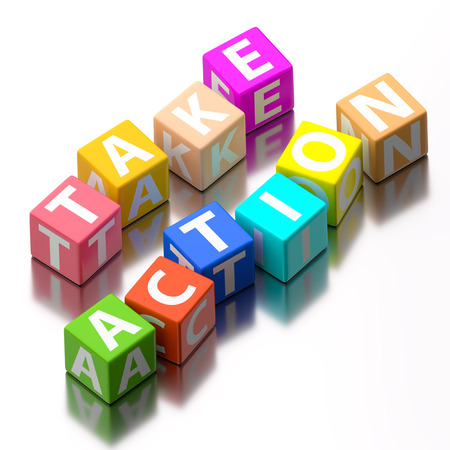take action: take action words made of colorful toy blocks Stock Photo