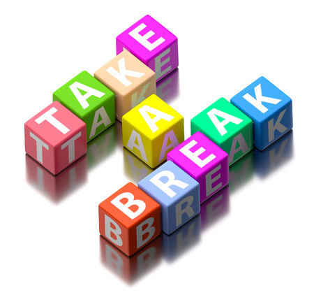 take a break words made of colorful toy blocks photo