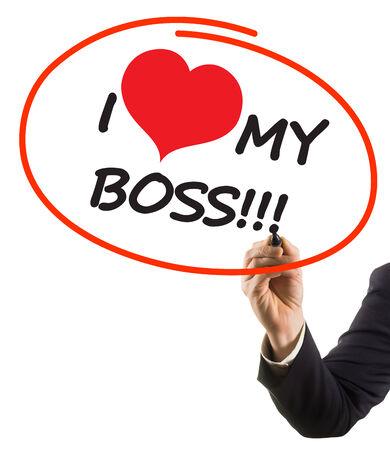 felt tip: businessman hand with felt tip marker writing text I love my boss with heart shape Stock Photo