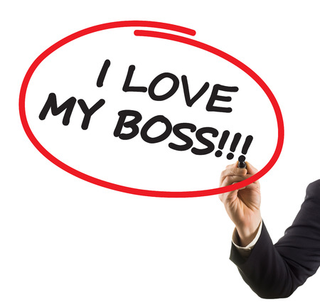 businessman hand with felt tip marker writing text I love my boss photo