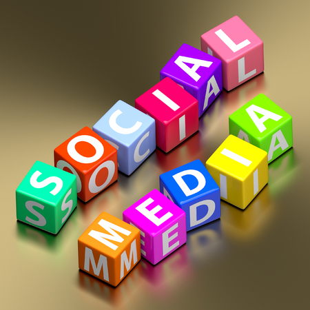 Social media words on colorful toy blocks photo