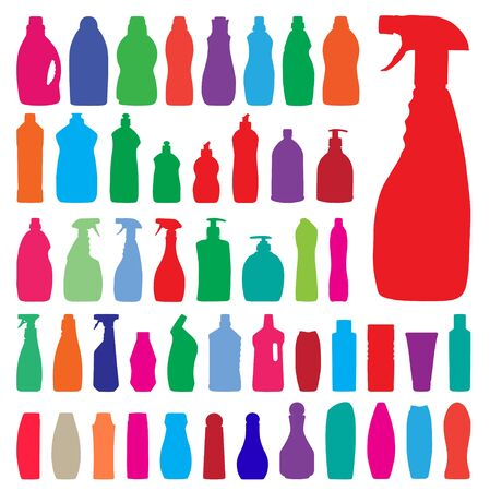 household bottles silhouettes Vector