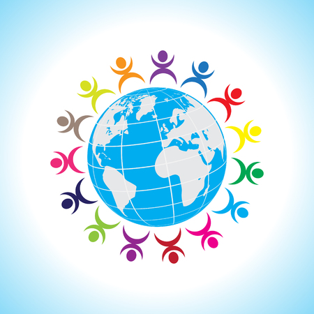 Earth Globe with people teamwork concept Vector