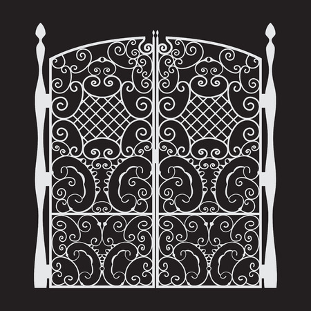 Beautiful iron Gate Silhouette Vector