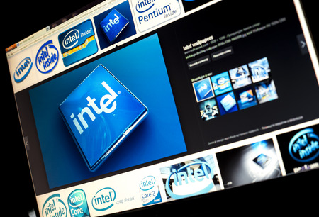 BELGRADE - JANUAR 29, 2014: Google image search for Intel logo photos on PC screen