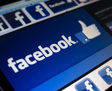 facebook: BELGRADE - FEBRUARY 08, 2014: Logo of popular social media website Facebook on PC monitor screen