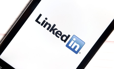 BELGRADE - FEBRUARY 06, 2014 Logo of popular social media website linkedin on smart phone screen