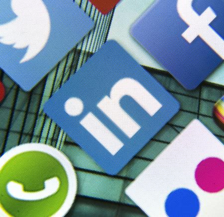 BELGRADE - MARCH 11, 2014: Social media icon Linkedin on smart phone screen