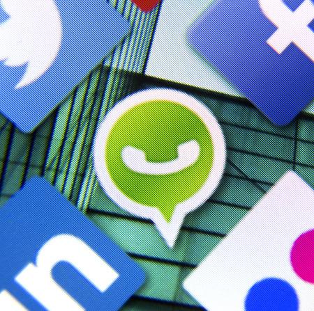 BELGRADE - MARCH 11, 2014: Social media icon Whatsapp on smart phone screen