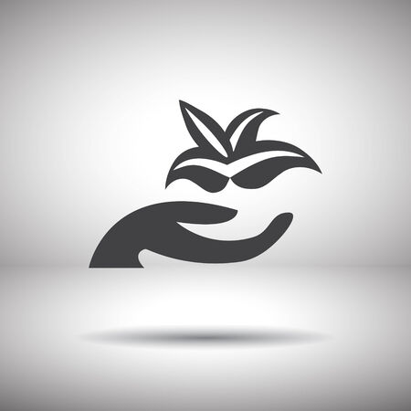 hand holding plant: hand holding plant vector icon