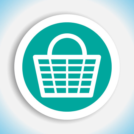 grocery basket: shopping basket vector icon