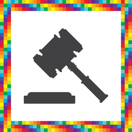 judgments: judge hammer vector icon Illustration
