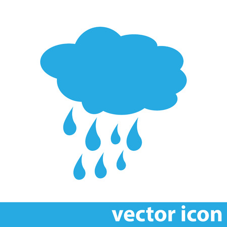 rain cloud: cloud with rain weather vector icon Illustration