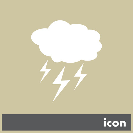 cloud with lightning weather vector icon Vector