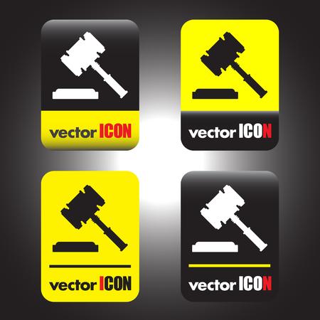 judge hammer vector icon Illustration