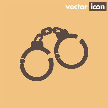 arrested: handcuffs vector icon Illustration