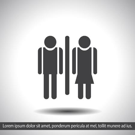 woman toilet: man and woman toilet vector icon