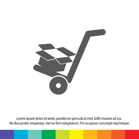 manual cart with cardboard box vector icon Vector