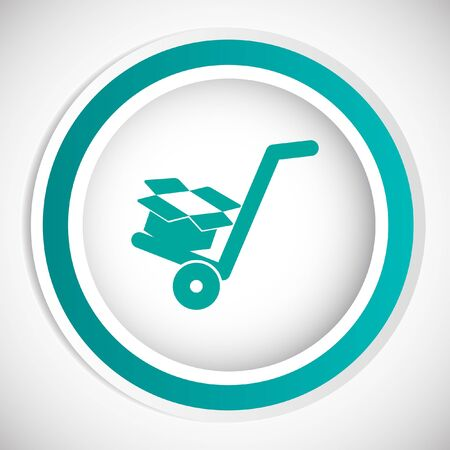 relocation: manual cart with cardboard box vector icon