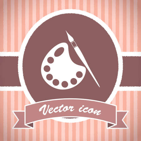 pallete: paintbrush with pallete vector icon Stock Photo