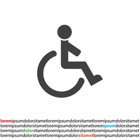 silla de rueda: icono de vectores en silla de ruedas