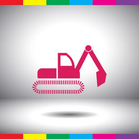 excavating: dredge symbol vector icon