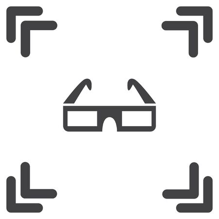 movie cinema 3d video glasses vector icon Vector