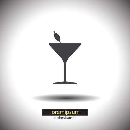 cocteles: cóctel icono vector de cristal
