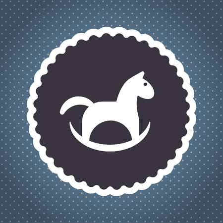 child room: horse toy vector icon Illustration