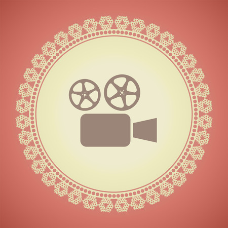 tripod projector: movie camera cinema vector icon Illustration