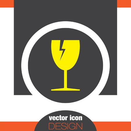 breakable: fragile transport vector icon