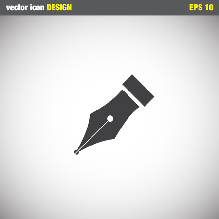 pen on paper: fountain pen symbol vector icon