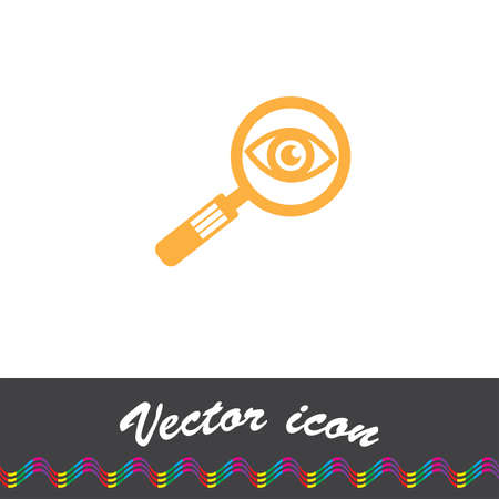 magnification: magnifying glass and eye vector icon