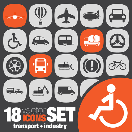transport industry icon set Vector