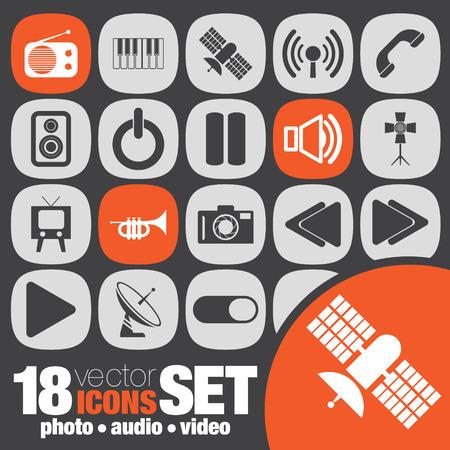 photo audio video icon set Vector